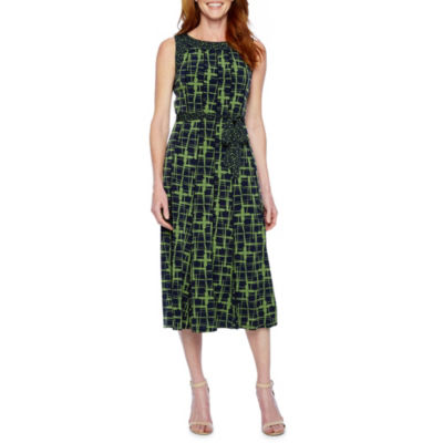 Perceptions Sleeveless Abstract Fit & Flare Dress
