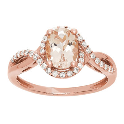 Womens Genuine Pink Morganite 10K Rose Gold Cocktail Ring