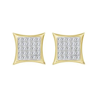 1/6 CT. T.W. Genuine White Diamond 10K Gold 8.8mm Stud Earrings