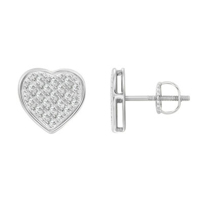 1/6 CT. T.W. Genuine White Diamond 10K White Gold 8.4mm Heart Stud Earrings
