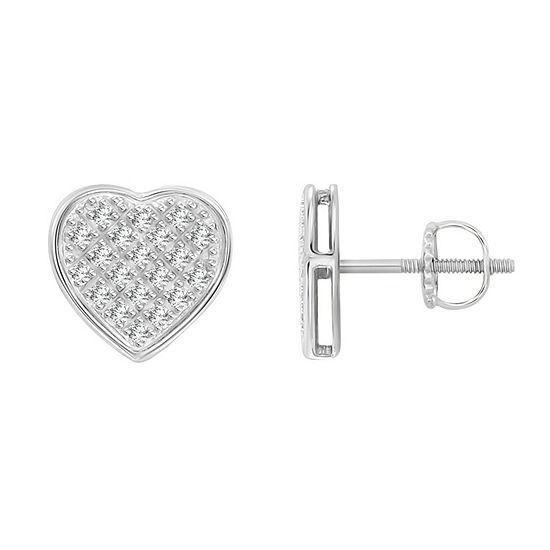 1/6 CT. T.W. Genuine White Diamond 10K White Gold 8.4mm Heart Stud Earrings