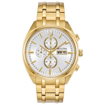 Bulova Mens Gold Tone Bracelet Watch-97c109