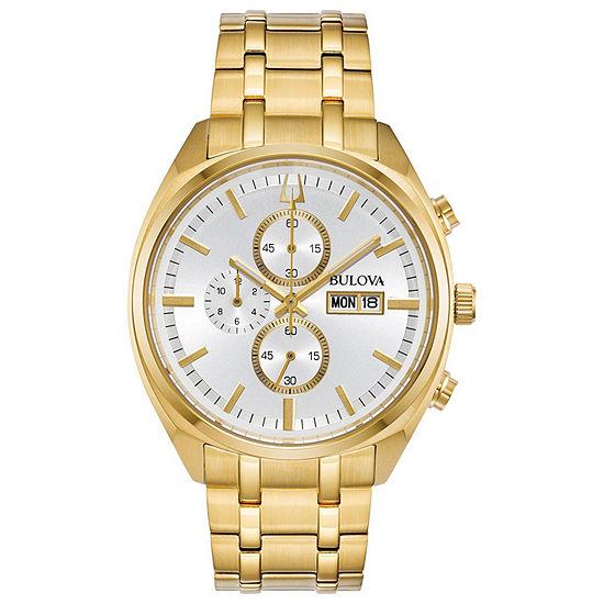 Bulova Surveyor Mens Gold Tone Stainless Steel Bracelet Watch-97c109