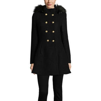 Liz Claiborne Boucle Hooded Midweight Swing Coat