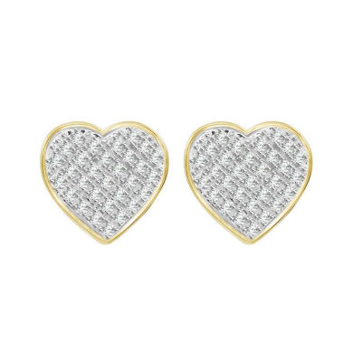 1/4 CT. T.W. Genuine White Diamond 10K Gold 10.2mm Heart Stud Earrings