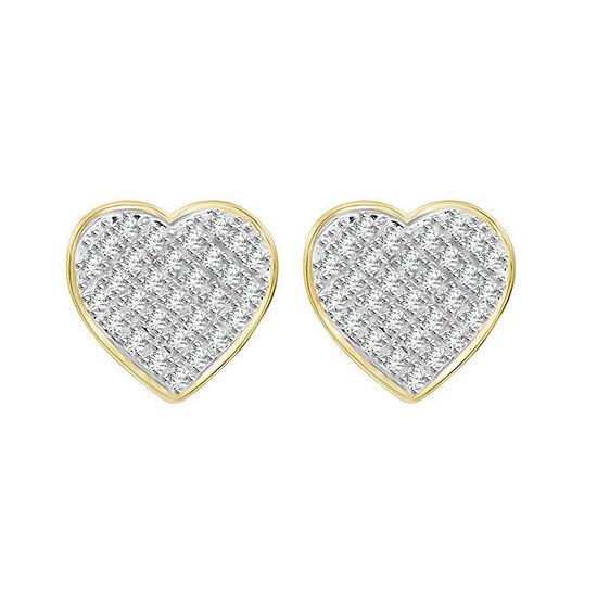 1/4 CT. T.W. Genuine White Diamond 10K Gold 10.2mm Heart Stud Earrings