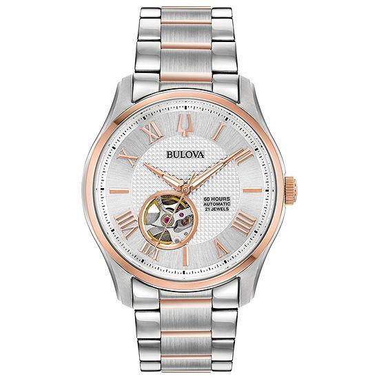 Bulova Wilton Mens Two Tone Stainless Steel Bracelet Watch-98a213