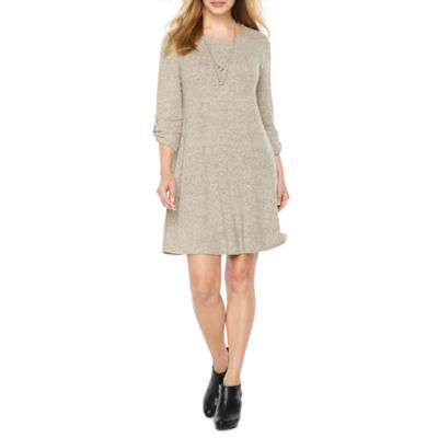 Alyx 3/4 Sleeve A-Line Dress with Necklace-Petite