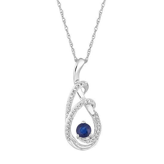 Womens 1/8 CT. T.W. Genuine Blue Sapphire 10K White Gold Pendant Necklace