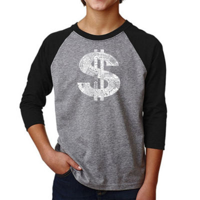 Los Angeles Pop Art Boy's Raglan Baseball Word Art T-shirt - Dollar Sign