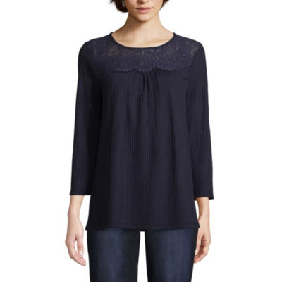 St. John's Bay Womens Round Neck 3/4 Sleeve Lace Blouse