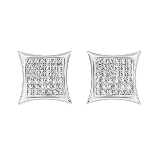 1/4 CT. T.W. Genuine White Diamond 10K White Gold 10.7mm Stud Earrings
