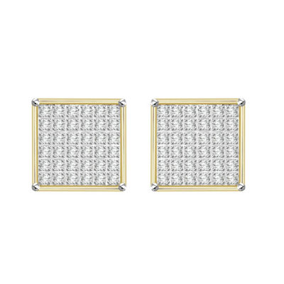 1/4 CT. T.W. Genuine White Diamond 10K Gold 8.7mm Stud Earrings