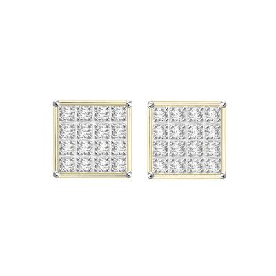 1/10 CT. T.W. Genuine White Diamond 10K Gold 5.9mm Stud Earrings