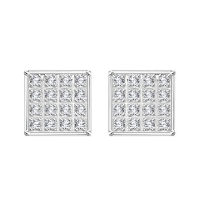 1/10 CT. T.W. Genuine White Diamond 10K White Gold 5.9mm Stud Earrings