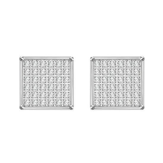 1/4 CT. T.W. Genuine White Diamond 10K White Gold 8.7mm Stud Earrings
