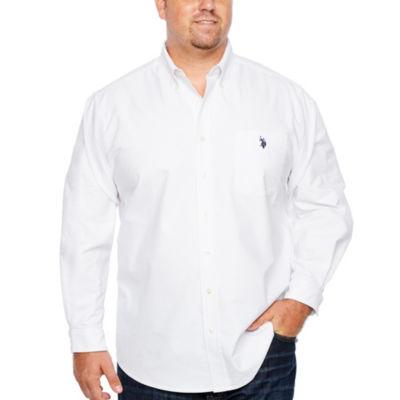 U.S. Polo Assn. Mens Long Sleeve Button-Front Shirt Big and Tall