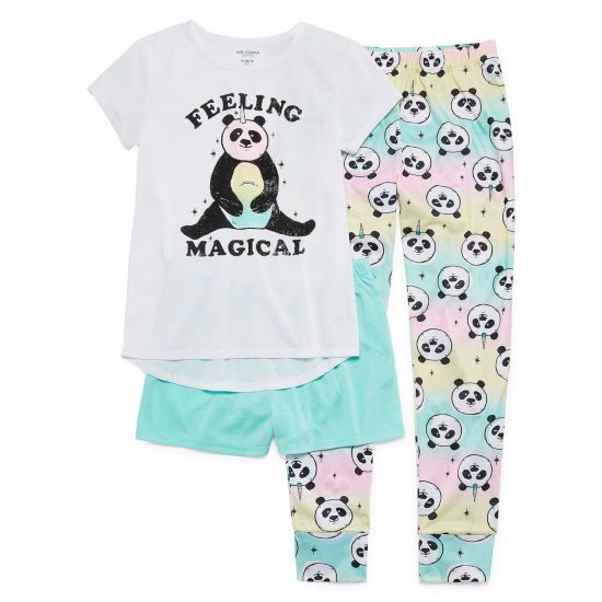 Arizona Magical Panda 3pc Pajama Set - Girls