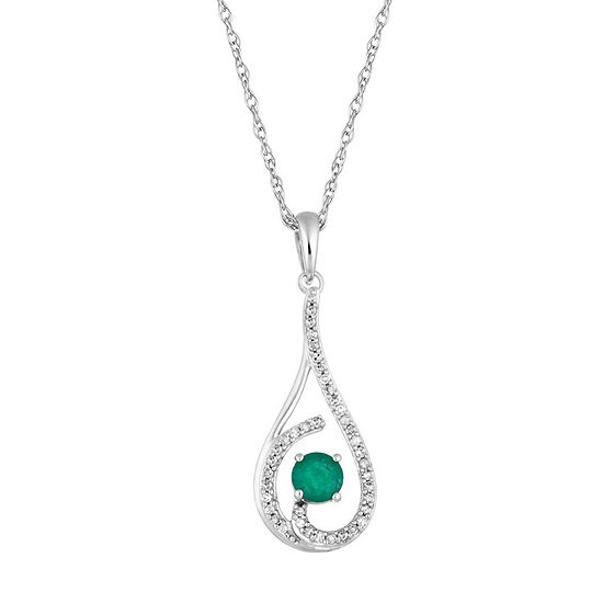 Womens 1/8 CT. T.W. Genuine Green Emerald 10K White Gold Pendant Necklace