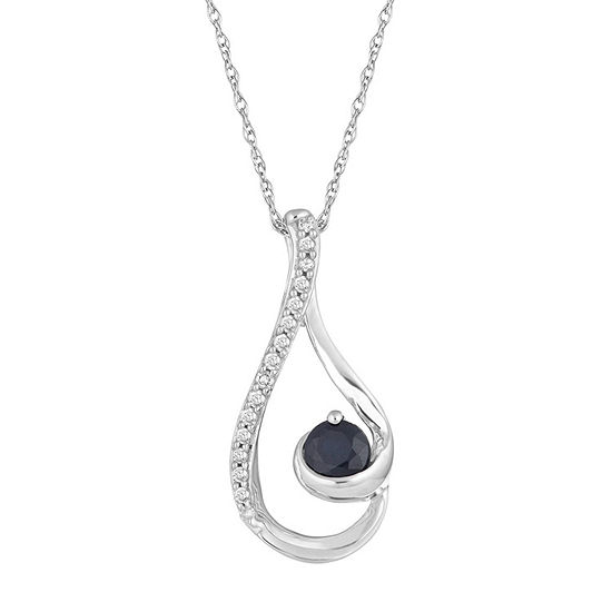 Womens Diamond Accent Genuine Blue Sapphire 10K White Gold Pendant Necklace