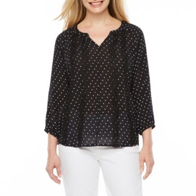 Liz Claiborne Short Sleeve Round Neck Dots T-Shirt-Womens Petite