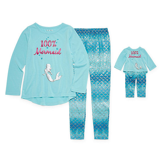 """For Me and My Dream Doll""  2pc Mermaid Pant Pajama Set - Girls"