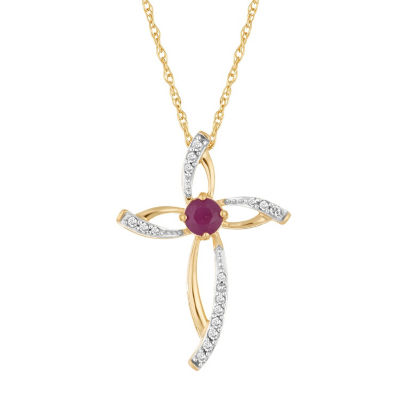 Womens Diamond Accent Lead Glass-Filled Red Ruby 10K Gold Pendant Necklace