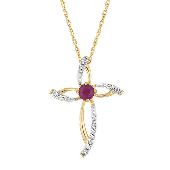 Womens Diamond Accent Lead Glass Filled Red Ruby 10k Gold Pendant Necklace