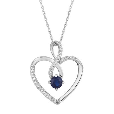 Womens 1/8 CT. T.W. Genuine Blue Sapphire 10K White Gold Pendant Necklace
