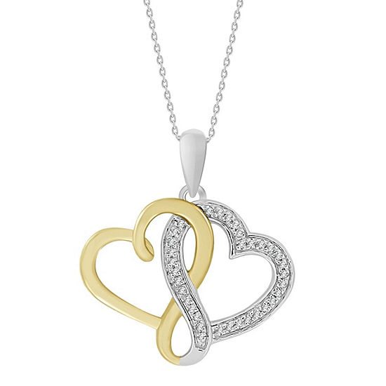 Womens 1/10 CT. T.W. Genuine White Diamond 10K Two Tone Gold Heart Pendant Necklace