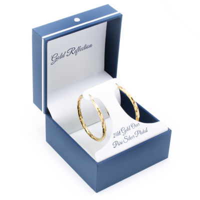 Gold Reflection 24kt Gold Plated Boxed Hoops 14K Gold Over Brass 40mm Round Hoop Earrings