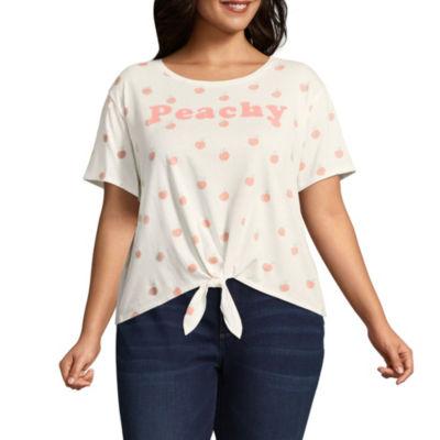 """""""Peachy"""" Tie Front Tee - Juniors Plus"""