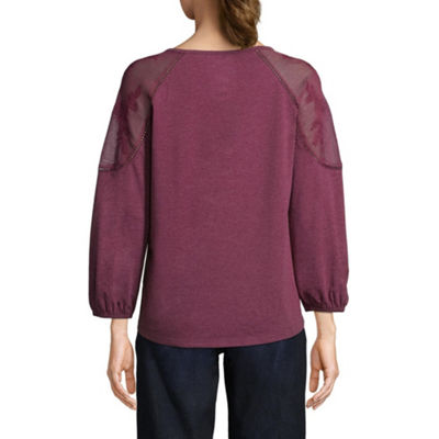 St. John's Bay 3/4 Sleeve Length Scoop Neck Blouse