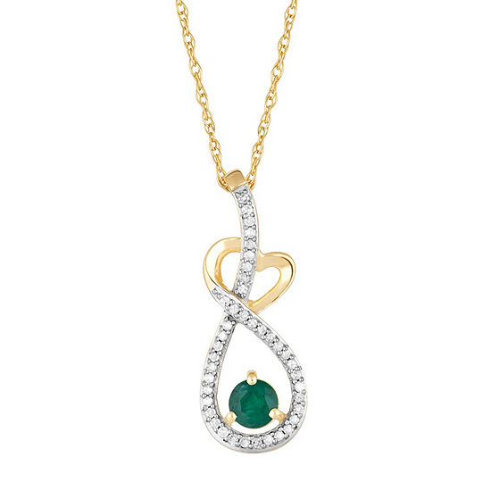 Womens 1/8 CT. T.W. Genuine Green Emerald 10K Gold Pendant Necklace