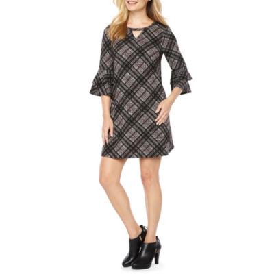 Byer California 3/4 Sleeve Plaid A-Line Dress-Petite