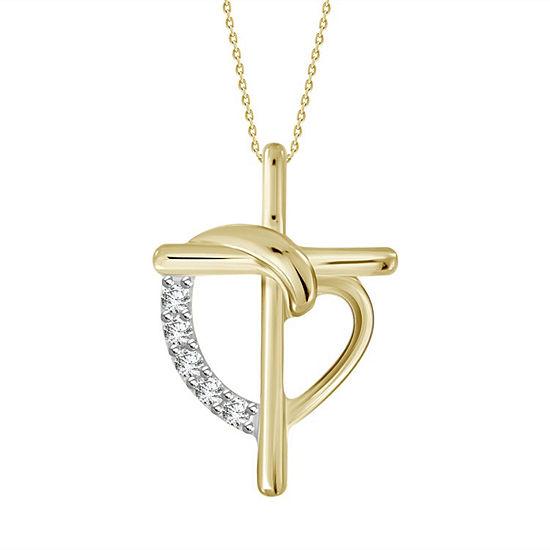 Womens Diamond Accent Genuine White Diamond 10K Gold Cross Pendant Necklace