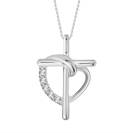 Womens Diamond Accent Genuine White Diamond 10k White Gold Cross Pendant Necklace