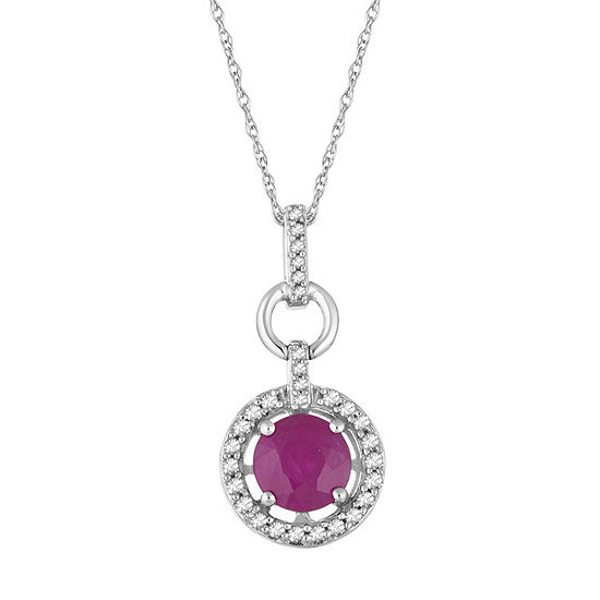 Womens 1/6 CT. T.W. Lead Glass-Filled Red Ruby 10K White Gold Pendant Necklace