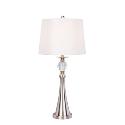 Fangio Lighting's #1525 30.75 inch Crystal & Brushed Steel Metal Table Lamp