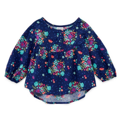 Okie Dokie Floral Peasant Top - Baby Girl 3M-24M