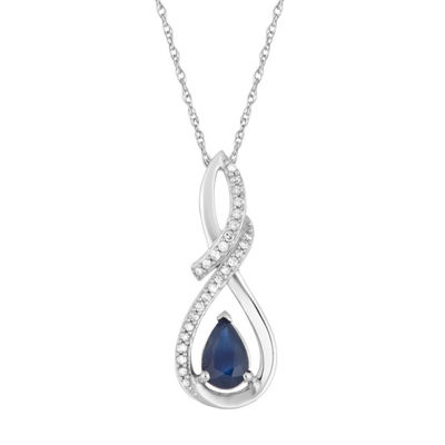 Womens Diamond Accent Genuine Blue Sapphire 10K White Gold Pendant Necklace