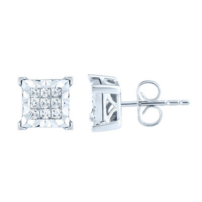 1/3 CT. T.W. Genuine White Diamond 10K White Gold 7.7mm Stud Earrings