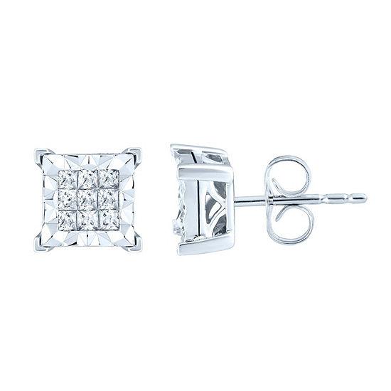 1/3 CT. T.W. Genuine White Diamond 10K White Gold 7.7mm Stud Earrings
