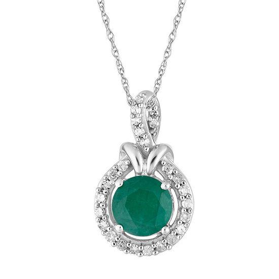 Womens 1/6 CT. T.W. Genuine Green Emerald 10K White Gold Pendant Necklace