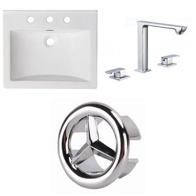 21-in. W 3H8-in. Ceramic Top Set In White Color -CUPC Faucet Incl.