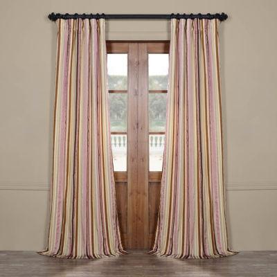 Exclusive Fabrics & Furnishing Milton Luxury Faux Silk Stripe Rod-Pocket/ Back-Tab Curtain Panel