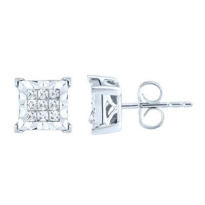 1/2 CT. T.W. Genuine White Diamond 10K White Gold 8.6mm Stud Earrings