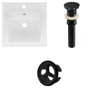 16.5-in. W 1 Hole Ceramic Top Set In White Color -Overflow Drain Incl.
