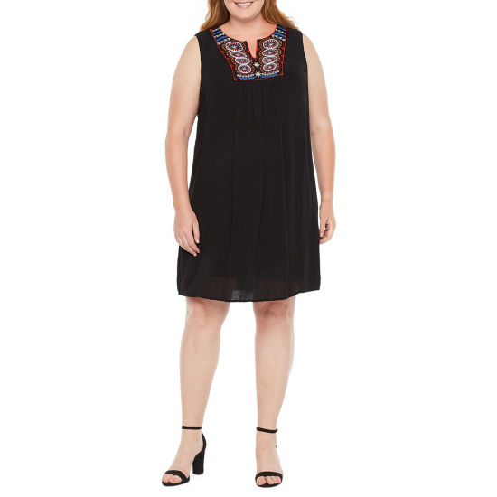 Luxology Sleeveless Embroidered Shift Dress - Plus