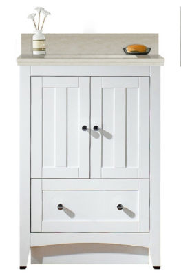 23.75-in. W Floor Mount White Vanity Set For 3H4-in. Drilling Beige Top White UM Sink